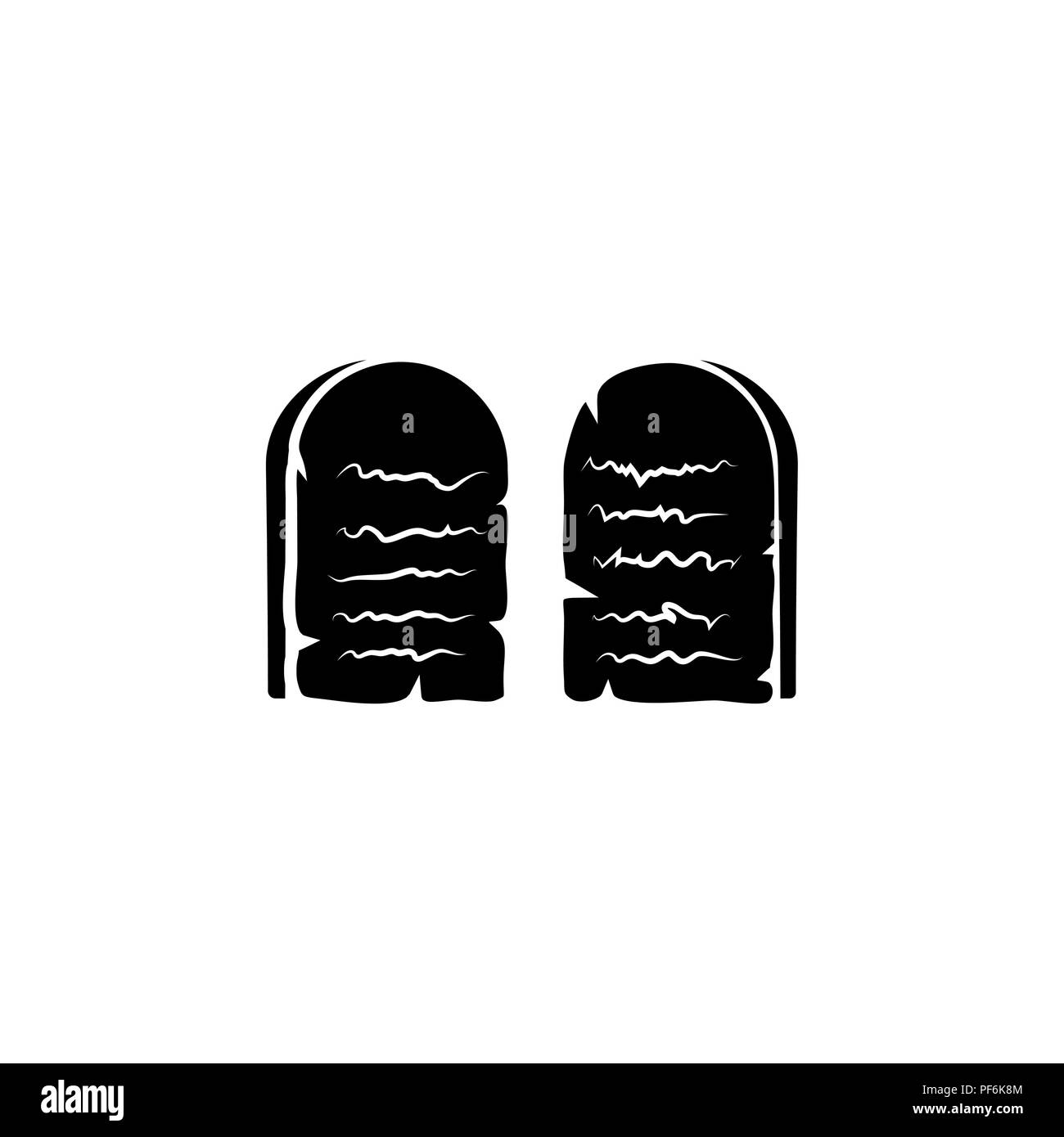 Stone Tablets. Ten Commandments black on white background - Stock Image