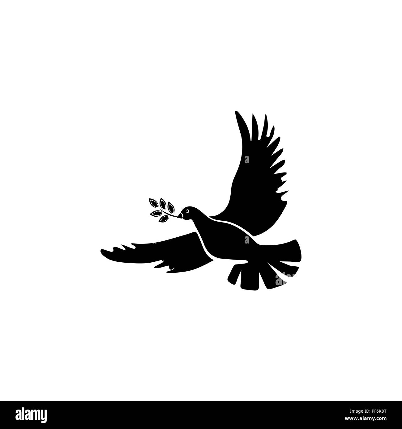 Pigeon With An Olive Branch A Symbol Of Peace Stock Vector Art