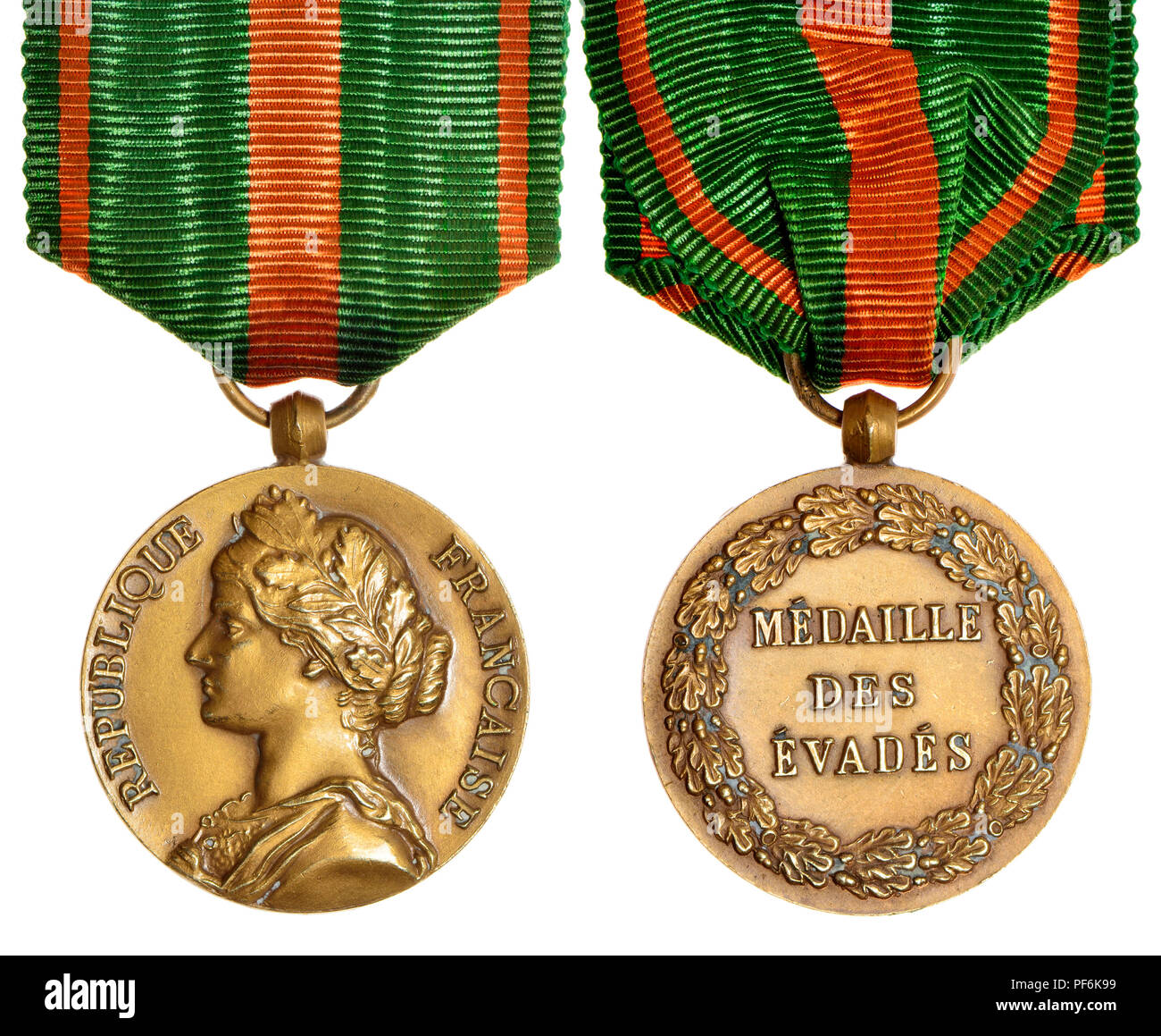 French Escapees' Medal (Médaille des Évadés) awarded by the government of France to prisoners of war who successfully escaped internment or died as a  - Stock Image
