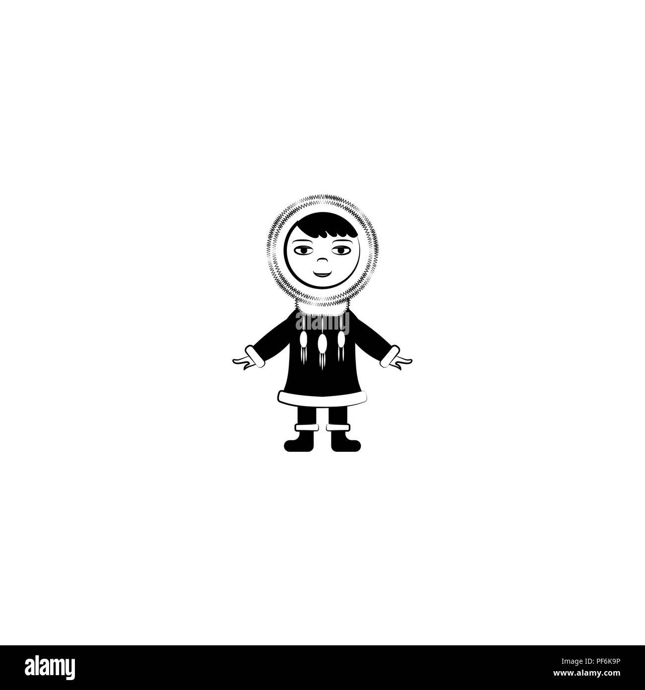 Eskimo vector icon black on white background Stock Vector