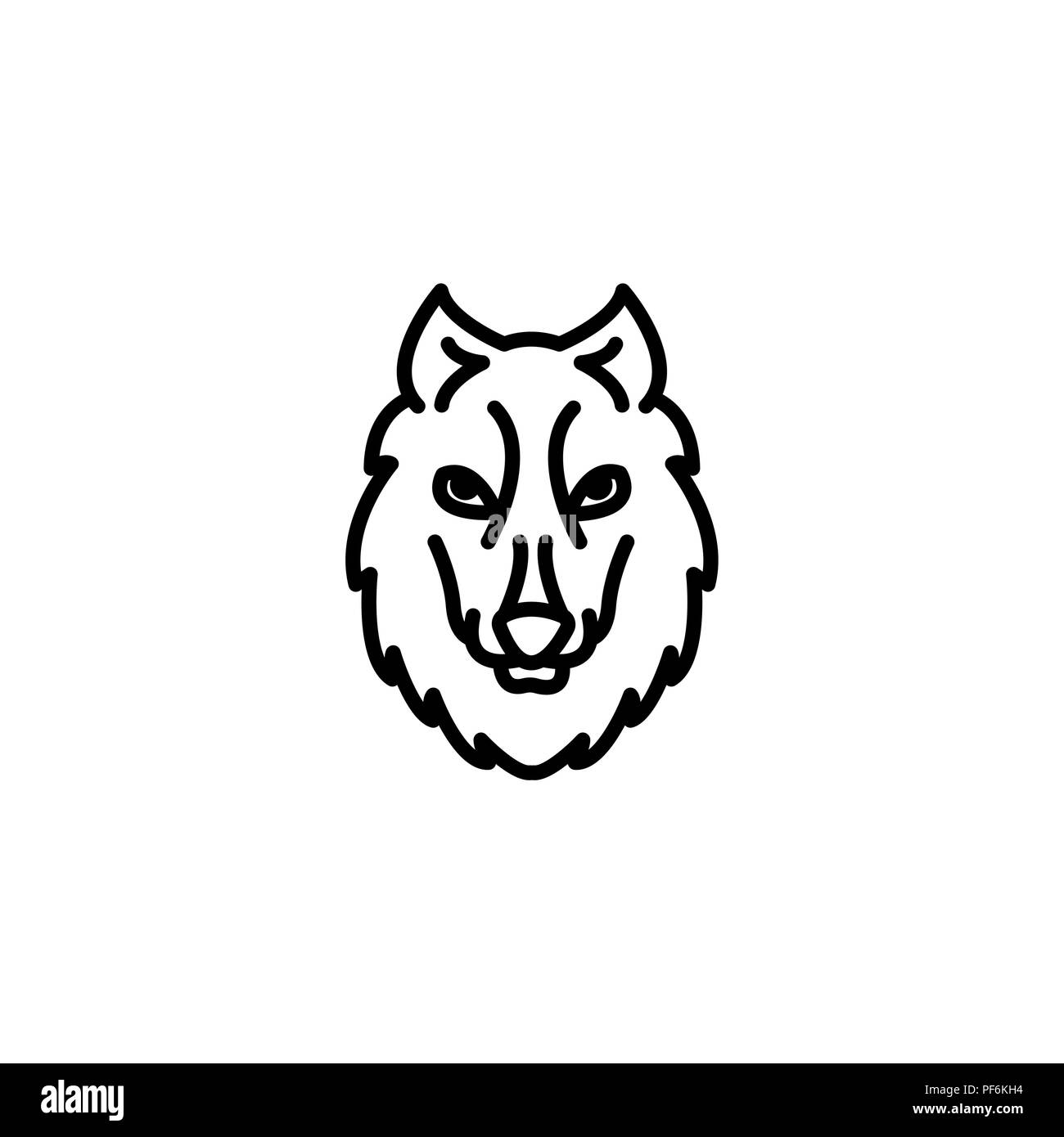 Web line icon. Wolf; wild animals black on white background - Stock Image