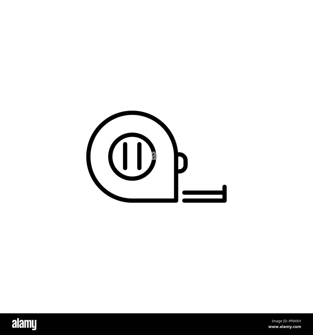 Web line icon. Tape measure black on white background - Stock Image