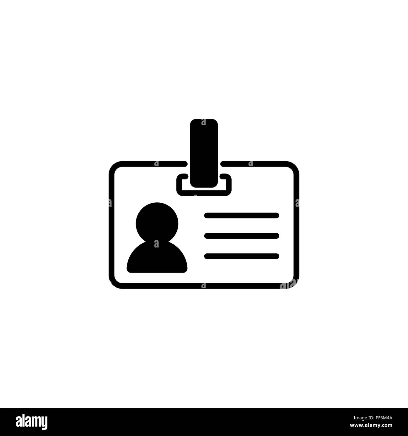 Web line icon. Business; blank id cards with clasp  (badge) - Stock Image