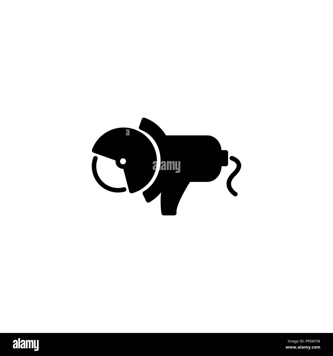Web line icon. Electric angle grinder black on white background - Stock Vector