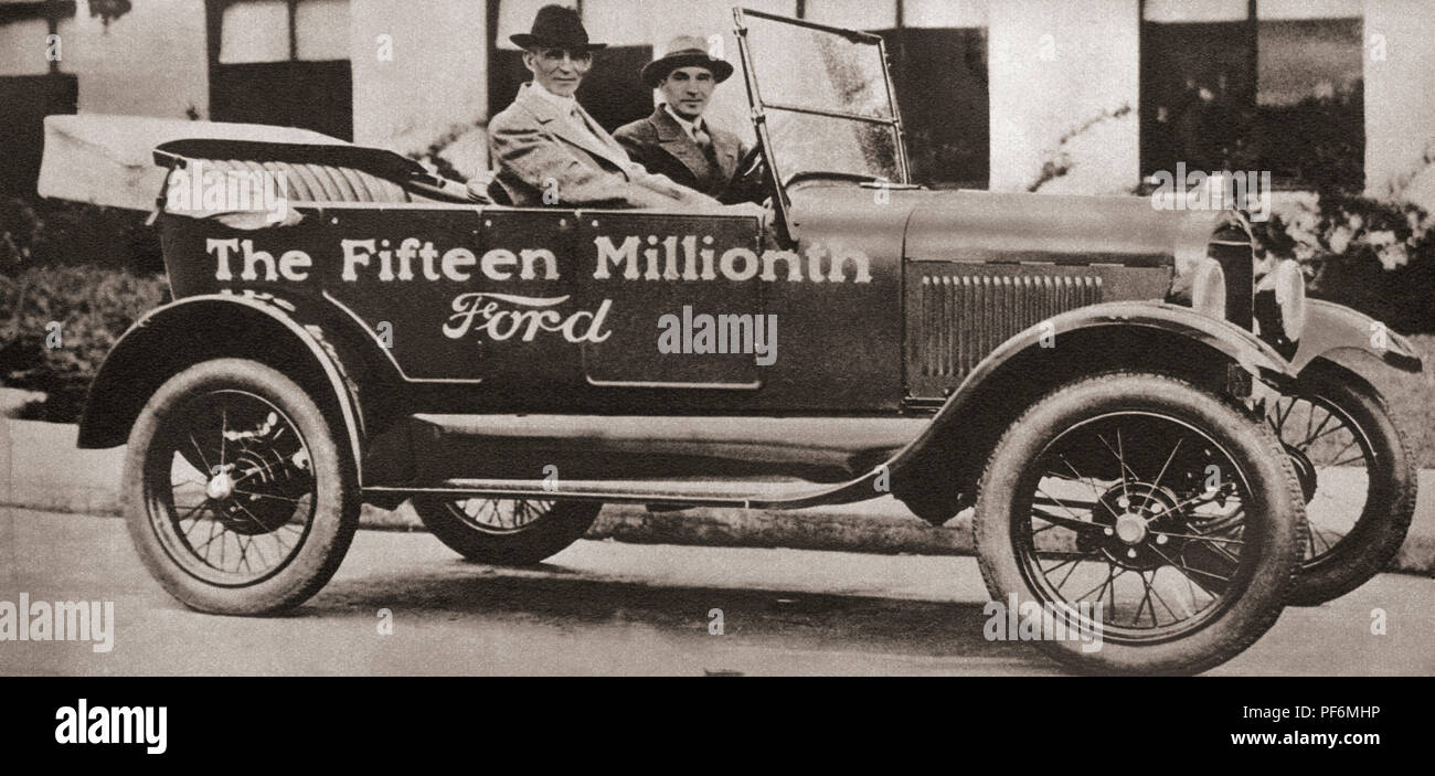 The fifteen millionth Ford Motor Car, 1927.  A new two seater model was launched on the market the same year at a price of 145 pounds.  From These Tremendous Years, published 1938. - Stock Image