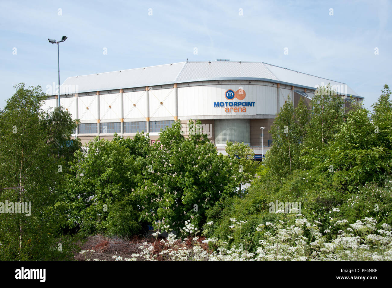 The Sheffield Motorpoint Arena building was named in 2010 and changed its name to FlyDSA Arena Sheffield by Doncaster Airport in 2015 - Stock Image