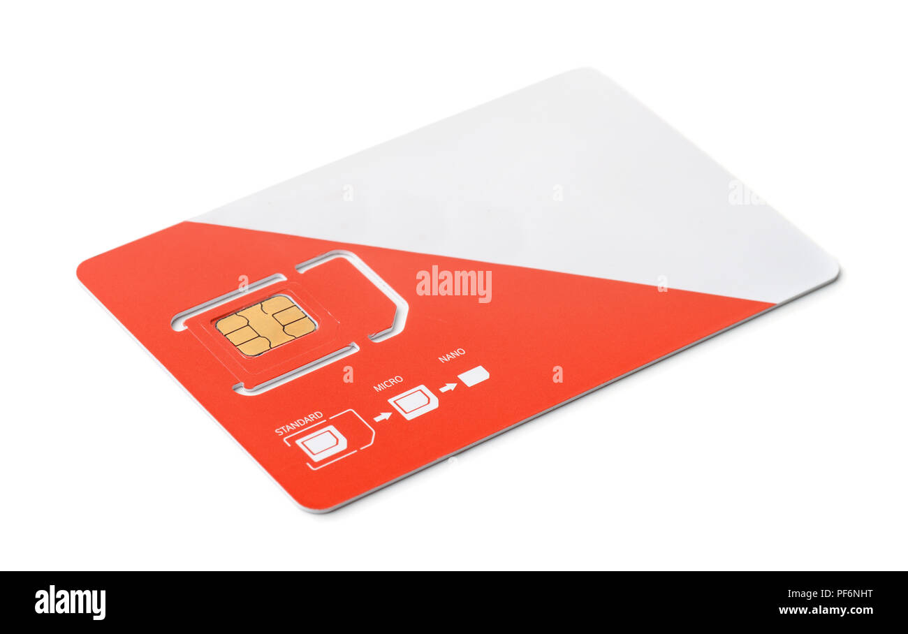 New red and white sim card isolated on white - Stock Image
