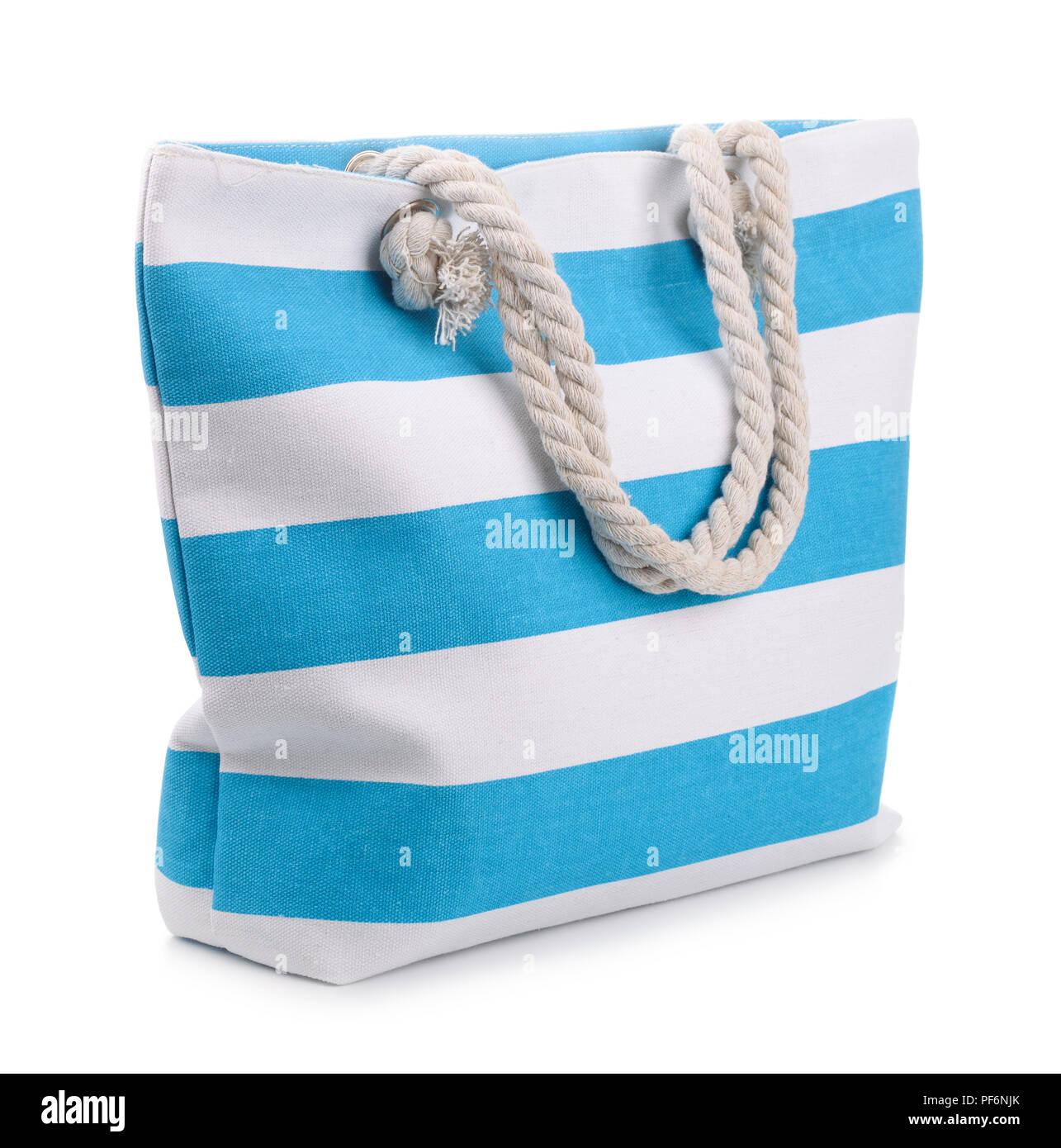 5e7b37e78 Blue striped beach bag isolated on white Stock Photo: 215892955 - Alamy