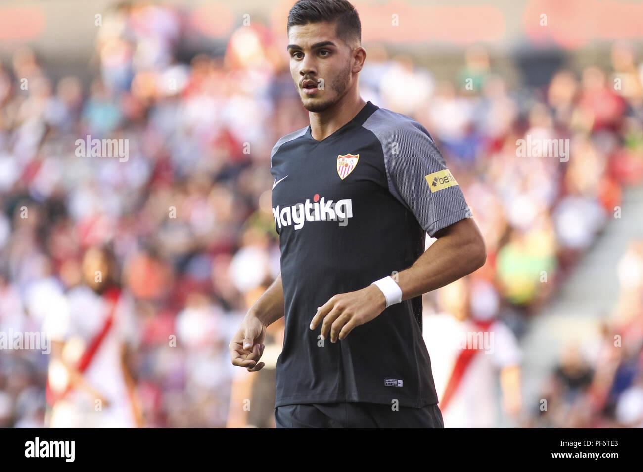 Andre Silva Of Sevilla In Action During The Spanish League La Liga Football Match Between Rayo Vallecano And Sevilla Fc On August 19 2018 At Estadio De Vallecas In Madrid Spain 19th