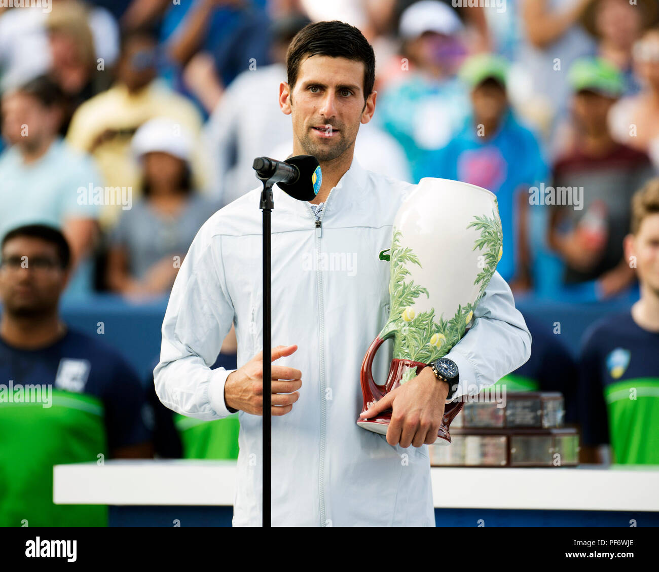 Mason, Ohio, USA. August 19, 2018: Novak Djokovic (SRB) addresses the crowd after his win at the Western Southern Open in Mason, Ohio, USA. Brent Clark/Alamy Live News - Stock Image