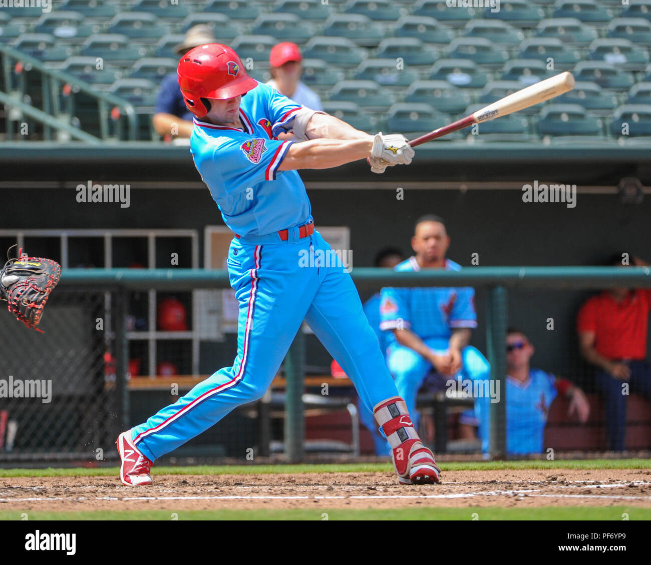 August 19, 2018: Memphis outfielder, Lane Thomas (38), at bat during the Pacific Coast League Triple-A baseball game at Auto Zone Park in Memphis, TN. Round Rock defeated Memphis, 3 - 1. Kevin Langley/CSM - Stock Image