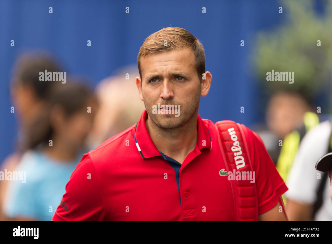 West Vancouver, Canada. 19 August 2018. West Vancouver, Canada. 19 August 2018. Daniel Evans of Great Britain wins the ATP Challenger Tour Mens Singles Final,  against Jason Kubler of Australia. Odlum Brown VanOpen. Hollyburn Country Club.  © Gerry Rousseau/Alamy Live News - Stock Image