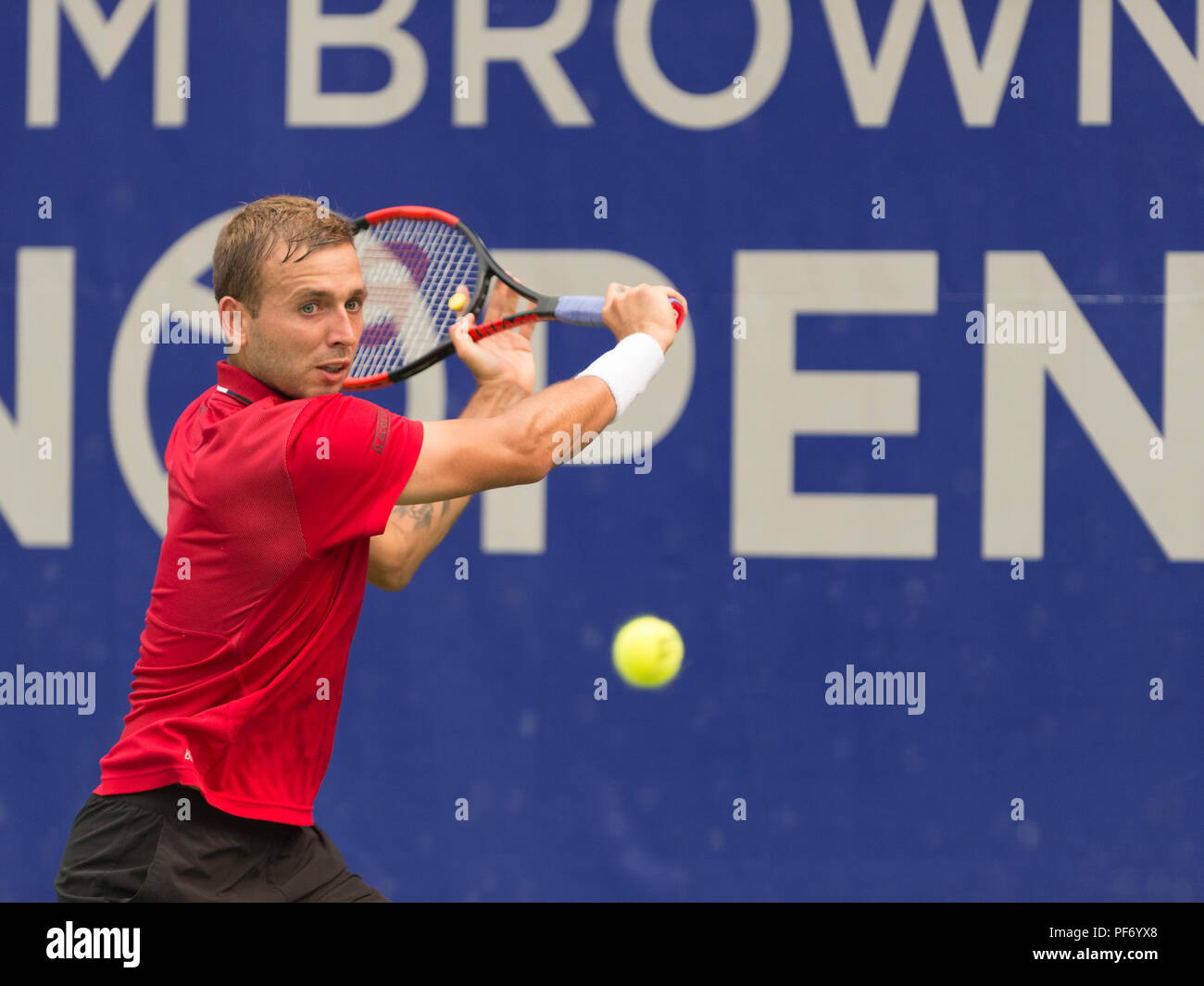 West Vancouver, Canada. 19 August 2018. West Vancouver, Canada. 19 August 2018. Daniel Evans of Great Britain ( shown here) wins the ATP Challenger Tour Mens Singles Final, against Jason Kubler of Australia. Odlum Brown VanOpen. Hollyburn Country Club.  © Gerry Rousseau/Alamy Live News - Stock Image