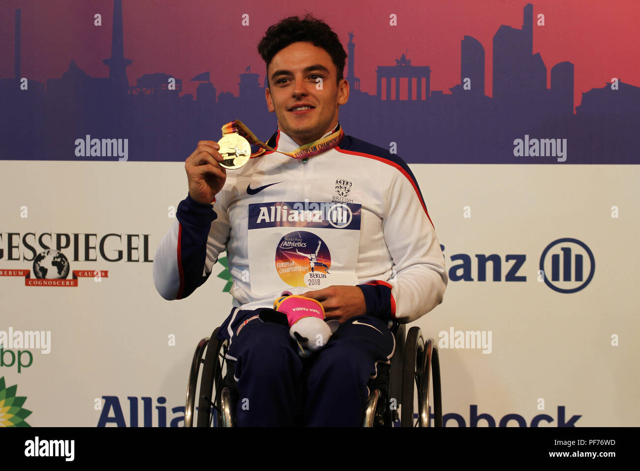 Berlin, Germany. 20th August 2018. Harri Jenkins poses with his gold medal during  on Day 1 of the World Para Athletics European Championships in Berlin, Germany Credit: Ben Booth/Alamy Live News - Stock Image
