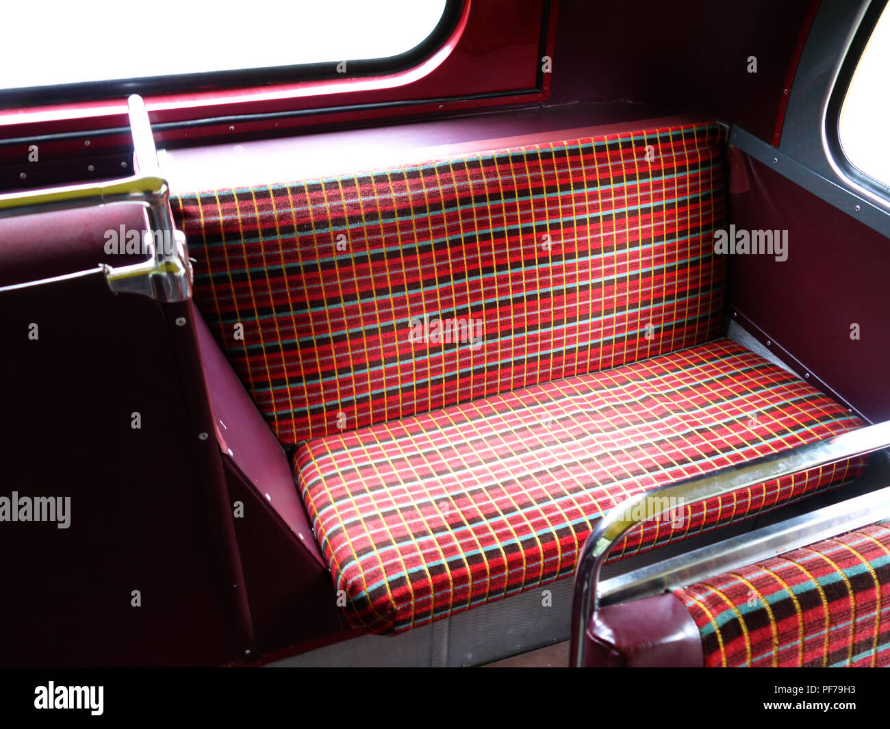 Rear Back seat on The London Transport Routemaster 'Long' Bus at a wedding in Warwick - Stock Image