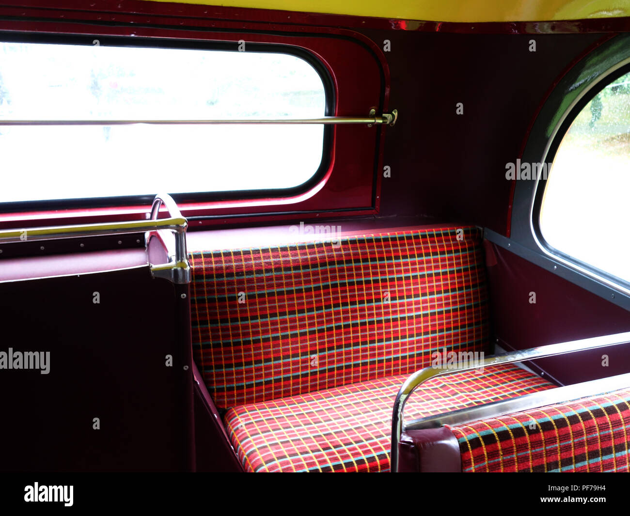 Back seat on The London Transport Routemaster 'Long' Bus at a wedding in Warwick - Stock Image