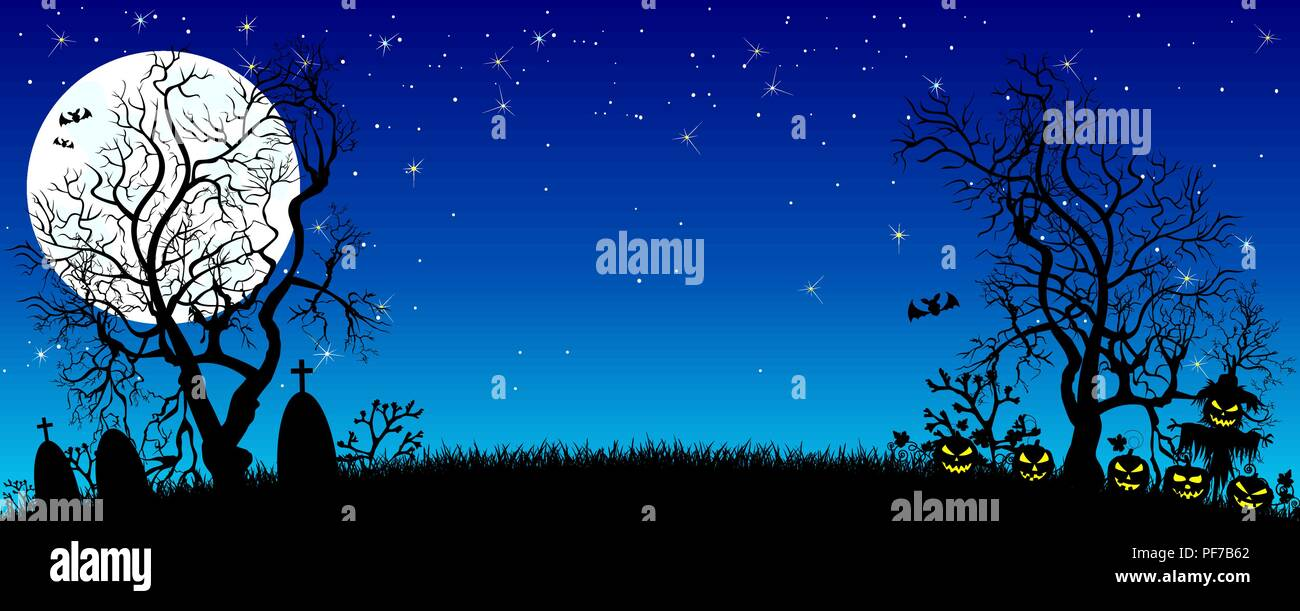 Night on Halloween. Pumpkins, silhouettes of trees, grass , scarecrow, cemetery in the background of the moon and the starry sky. The dark blue starry - Stock Vector