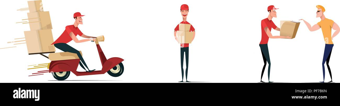 Set of postal workers in different poses. Courier or delivery service. Men characters with parcels packages boxes. Cheerful people in red uniform. Flat vector design. - Stock Vector