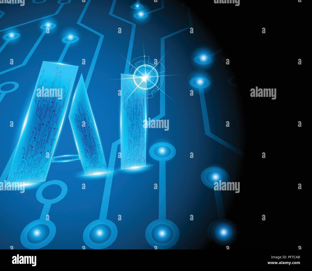 Ai Letter Digital Artificial Intelligence And Big Data Machine Electric Circuit Symbols Learning Business System With Conceptvector Illustration Eps10