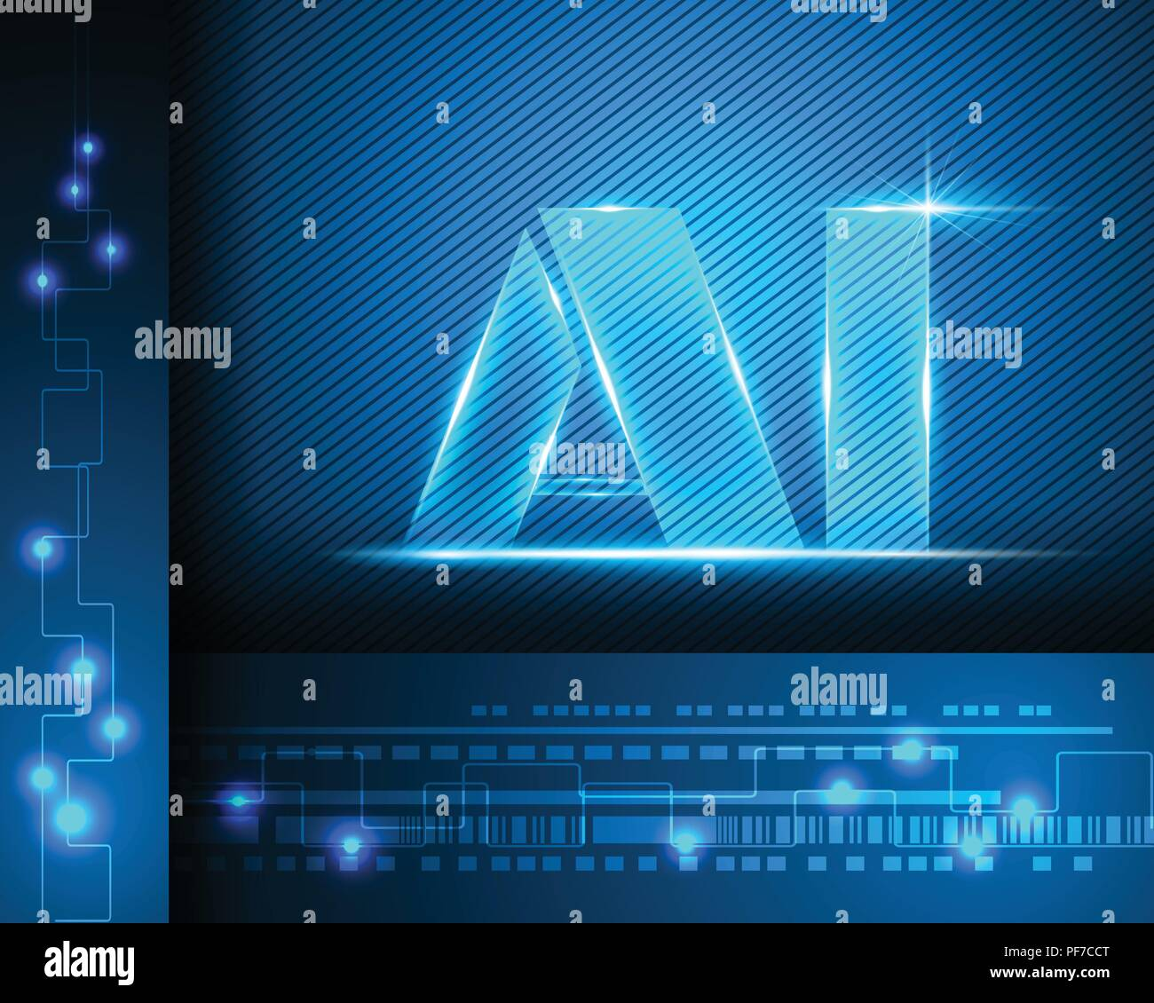 AI Letter Digital Artificial intelligence and big data Machine Learning business system concept.Vector illustration EPS10 - Stock Image