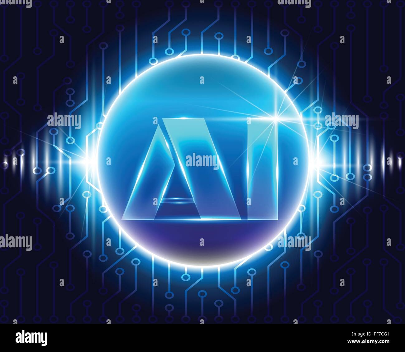 Ai Letter Digital Artificial Intelligence With Circuit Symbols And Electronic Commonly Used Big Data Business System Conceptvector Illustration Eps10