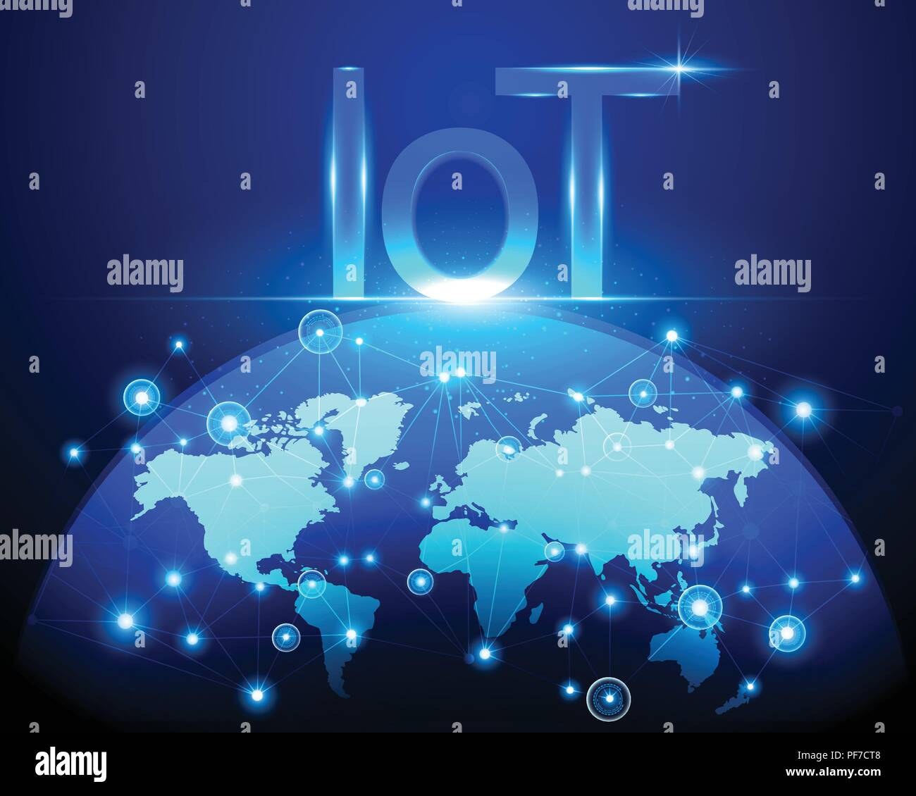 Internet of things (IOT) technology and World map cyber data internet network connection business concept.Vector illustration EPS10 - Stock Image
