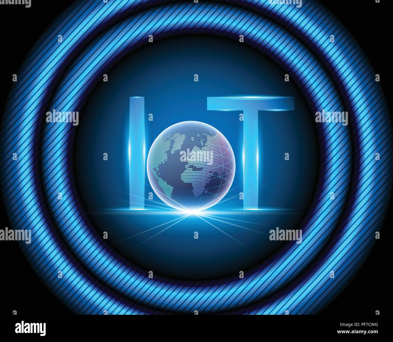 Internet of things (IOT) technology and Global worldwide point cyber data internet network connection business concept.Vector illustration EPS10 - Stock Image