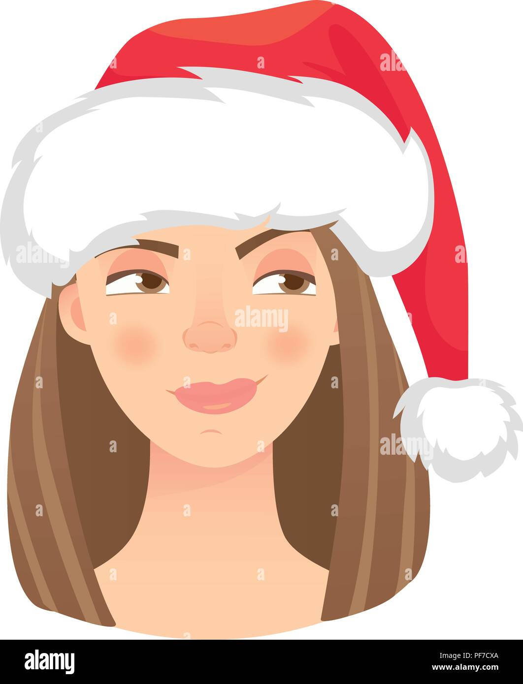 Christmas woman in santa claus hat. Emotions of woman face. Facial expression vector illustration - Stock Vector