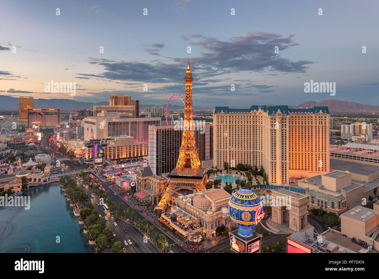 Las Vegas Strip skyline at sunset - Stock Image