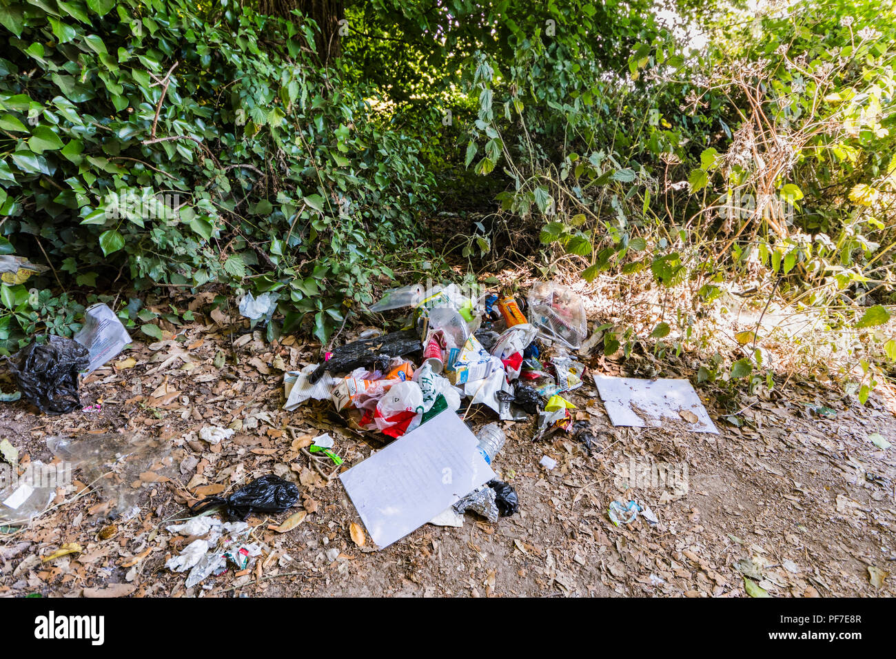 Pile of loose litter left behind in the countryside in the UK. Discarded rubbish on the ground. - Stock Image