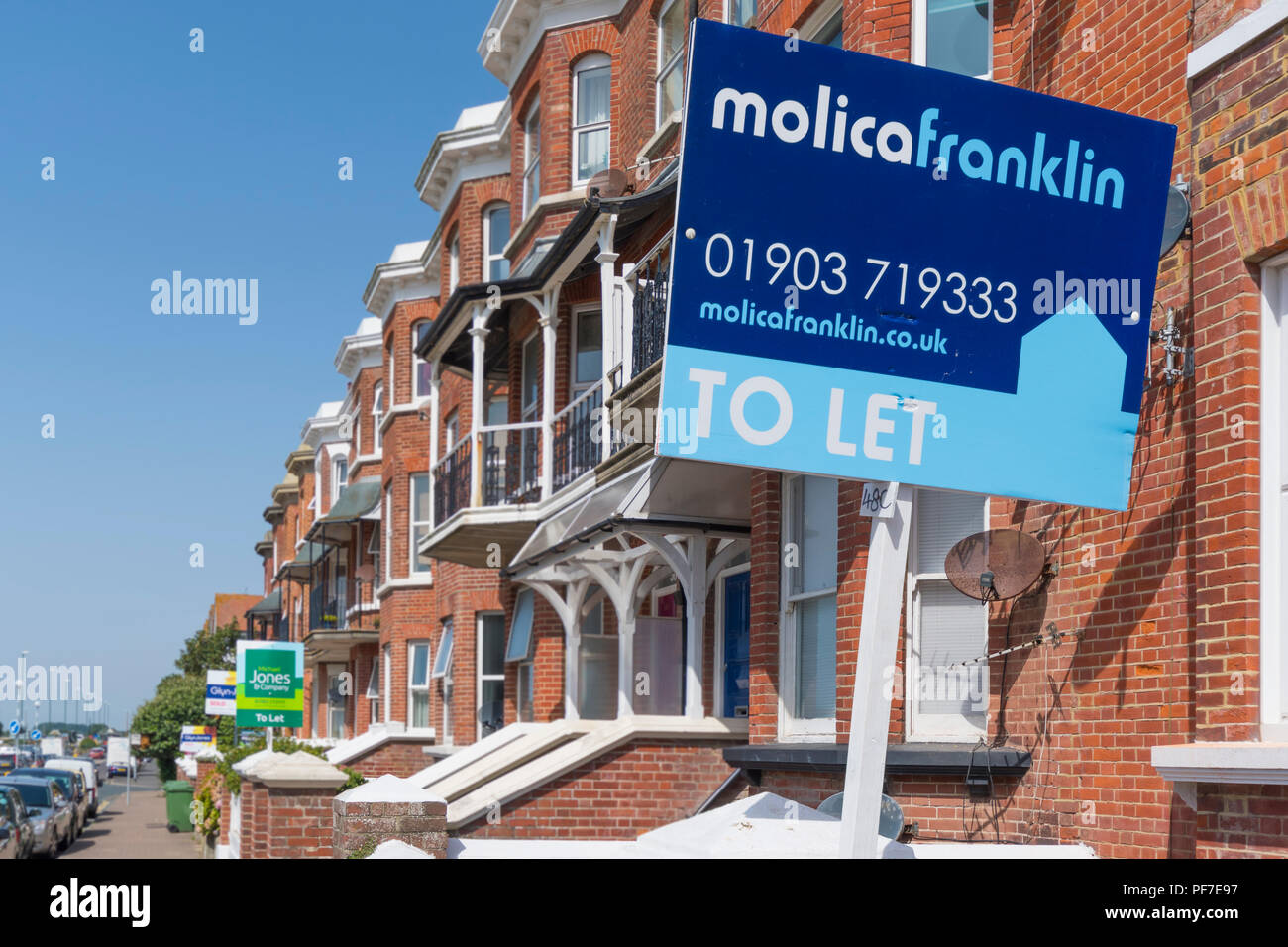 House To Let sign from Molica Franklin outside a house in South Terrace, Littlehampton, West Sussex, England, UK. House to rent. - Stock Image