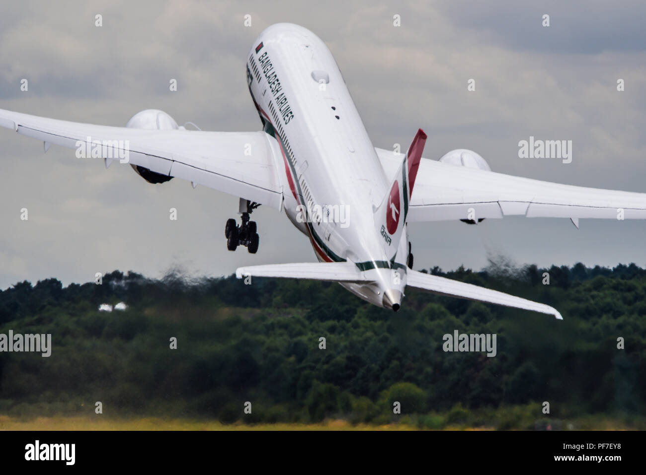Bangladesh Airlines Boeing 787 Dreamliner at the Farnborough International Airshow FIA, aviation, aerospace trade show - Stock Image