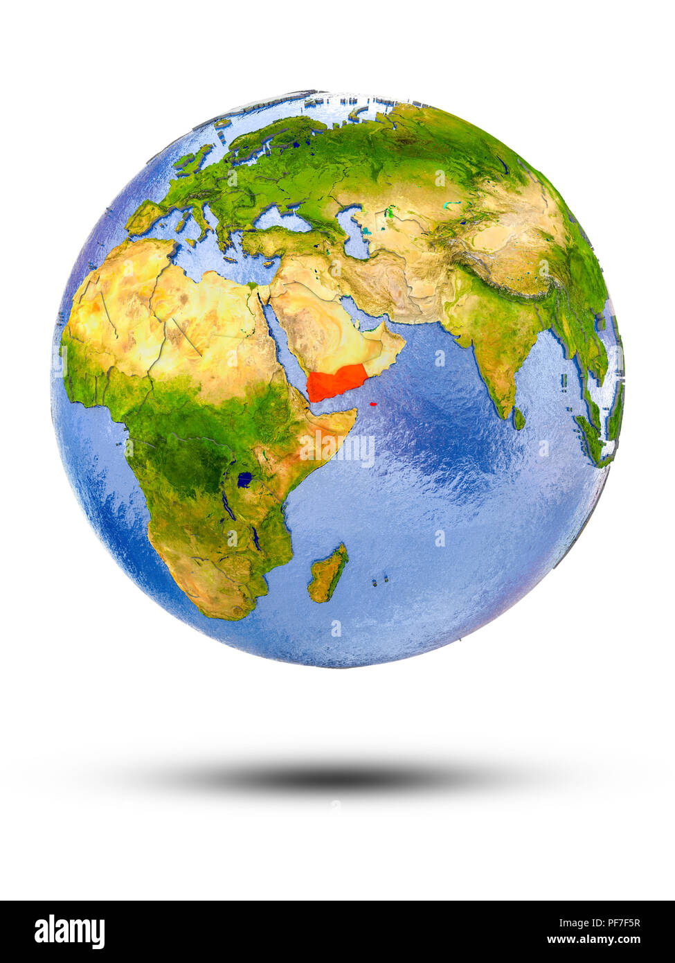 Yemen on globe with shadow isolated on white background. 3D illustration. - Stock Image