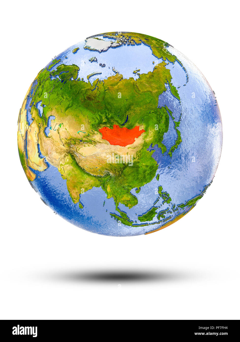 Mongolia on globe with shadow isolated on white background. 3D illustration. - Stock Image