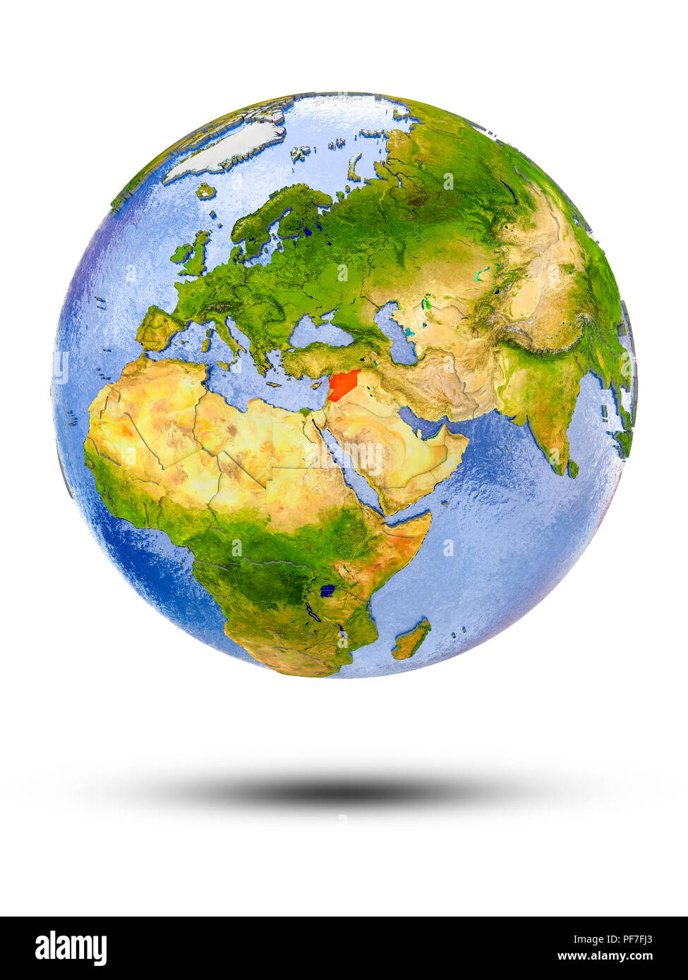 Syria on globe with shadow isolated on white background. 3D illustration. - Stock Image
