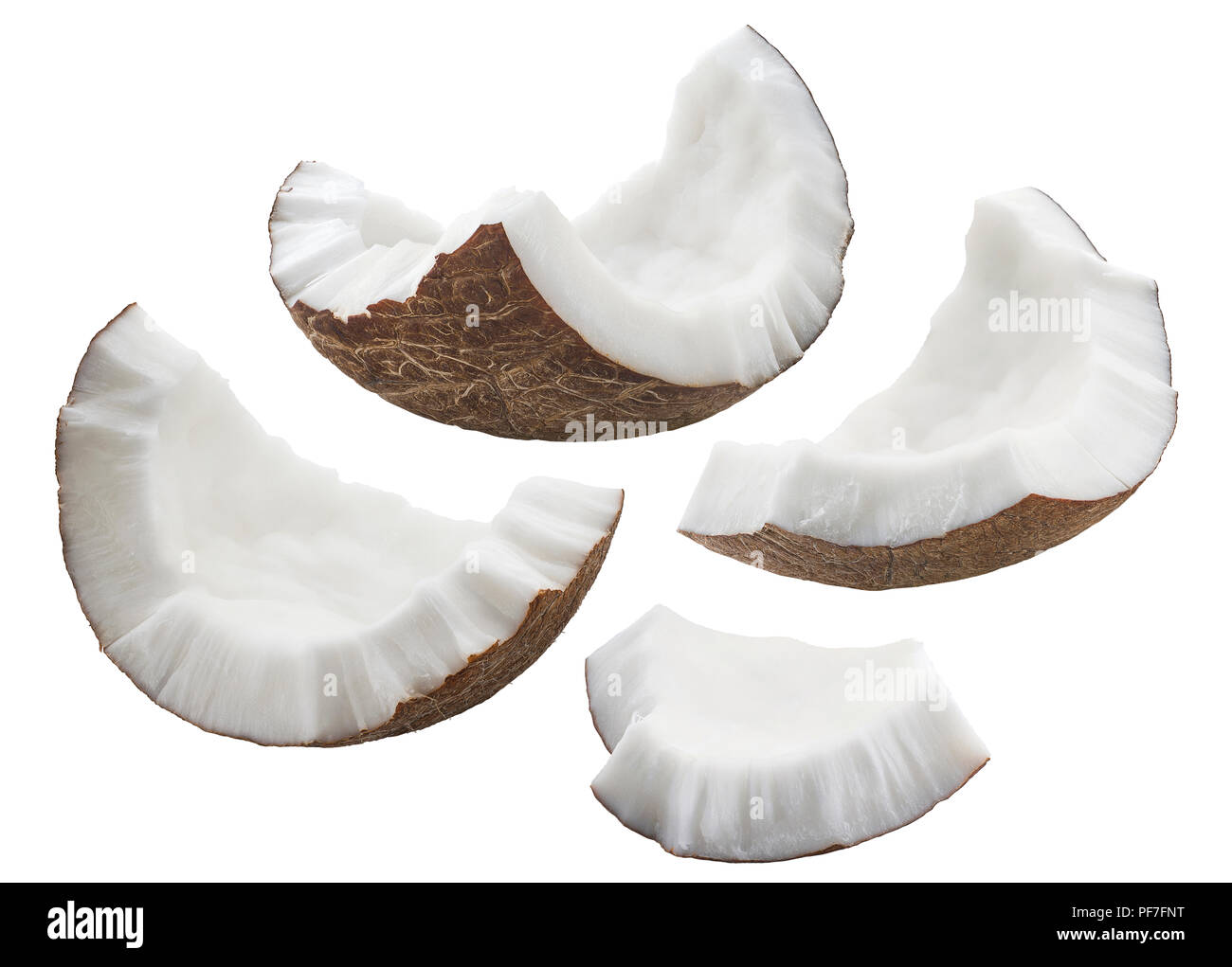 Coconut shell pieces set isolated on white background as package design element - Stock Image