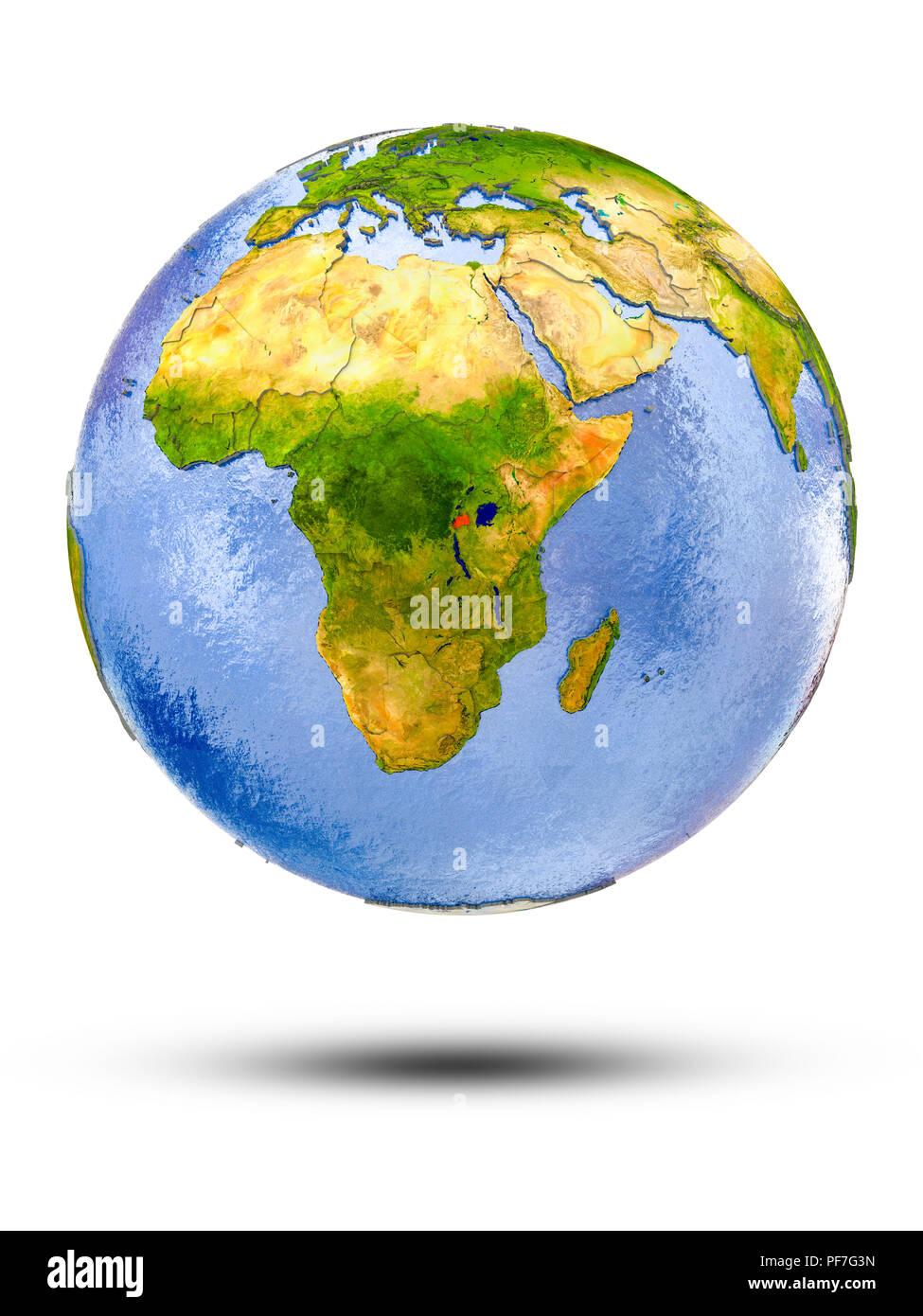 Rwanda on globe with shadow isolated on white background. 3D illustration. - Stock Image