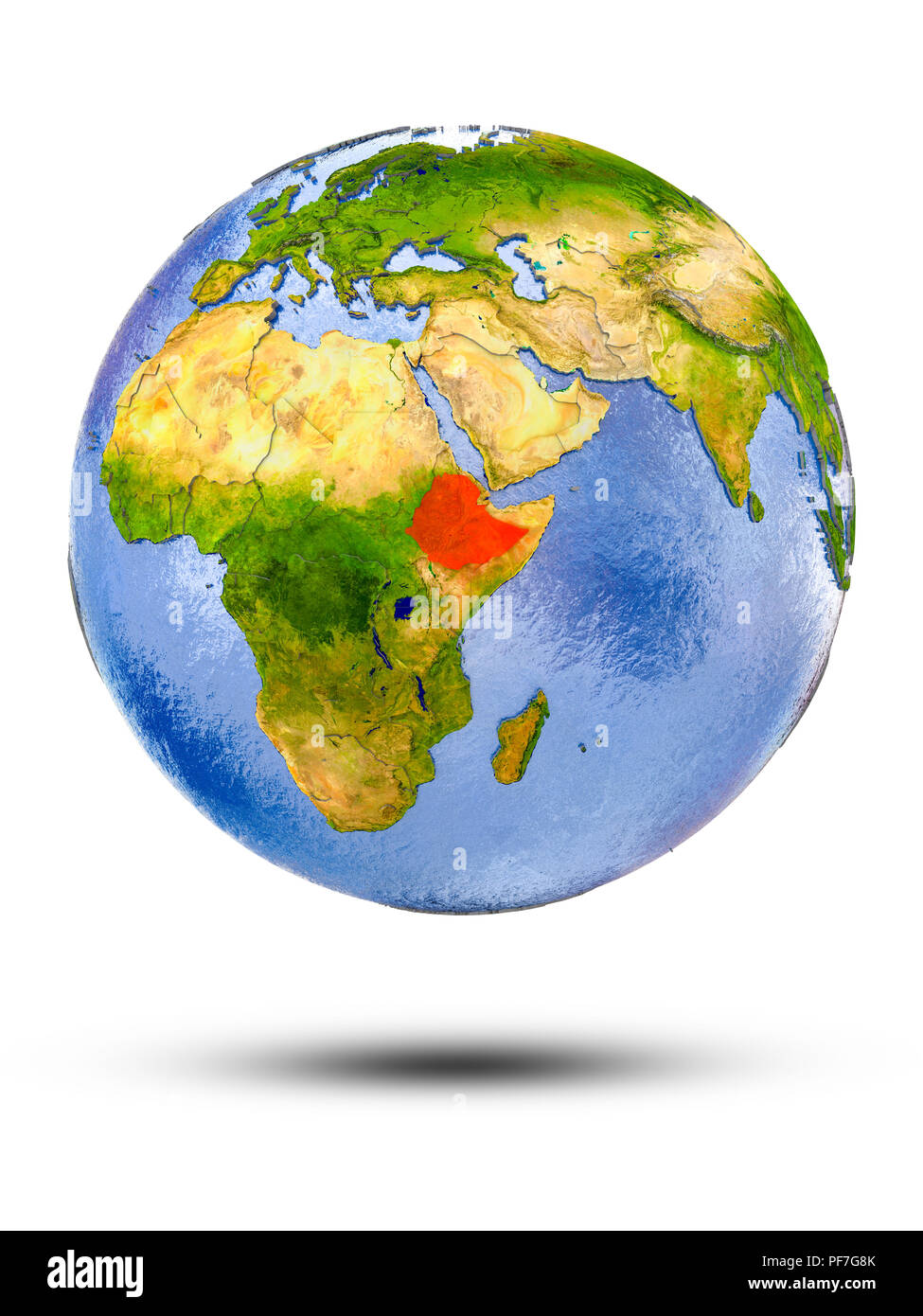 Ethiopia on globe with shadow isolated on white background. 3D illustration. - Stock Image