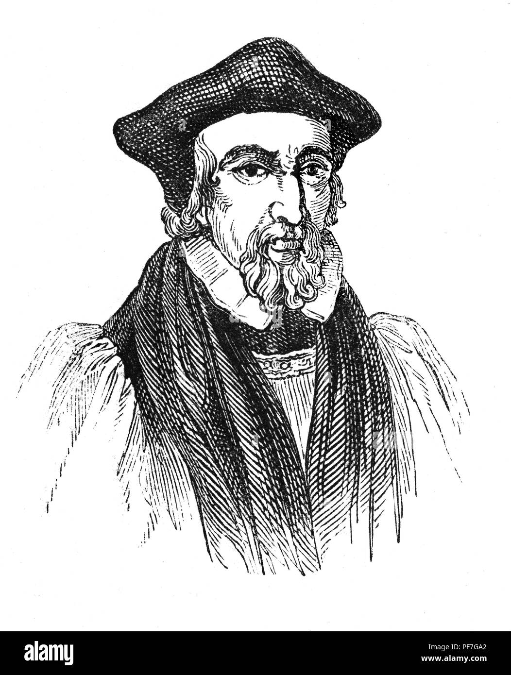 Portrait of Hugh Latimer (1487-1555), Fellow of Clare College, Cambridge, and Bishop of Worcester before the Reformation, and later Church of England chaplain to King Edward VI as the English church moved in a more Protestant direction. He then served as chaplain to Katherine Duchess of Suffolk. However, when Edward VI's sister Mary I came to the throne, he was tried for his beliefs and teachings in Oxford and imprisoned. In October 1555 he was burned at the stake outside Balliol College, Oxford. - Stock Image