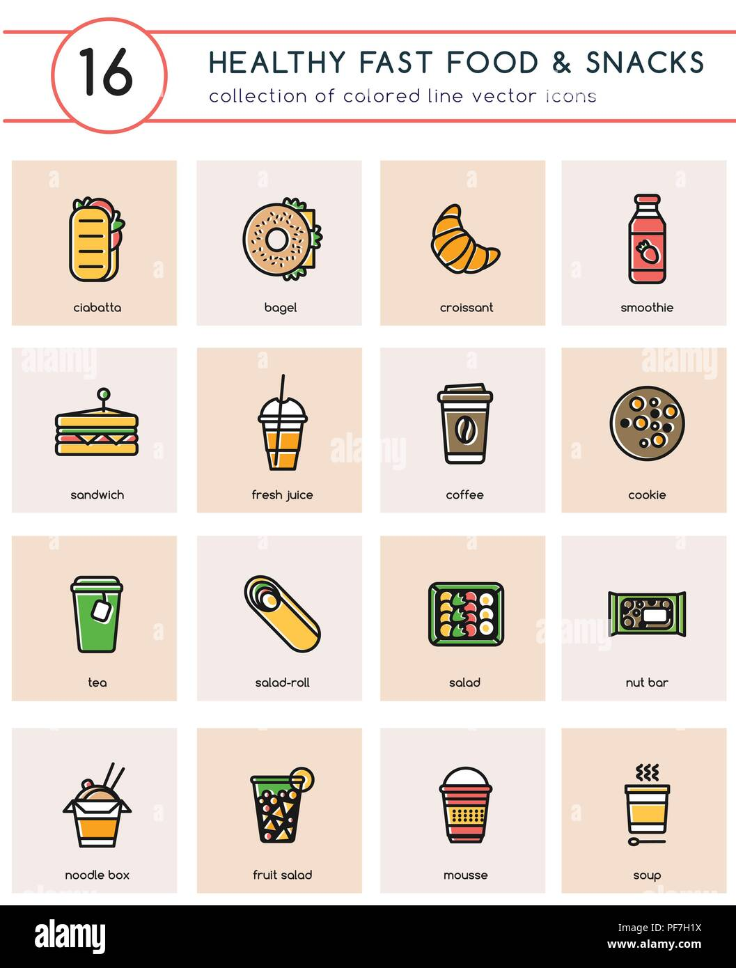 Collection of 16 colorful vector icons for healthy fast food