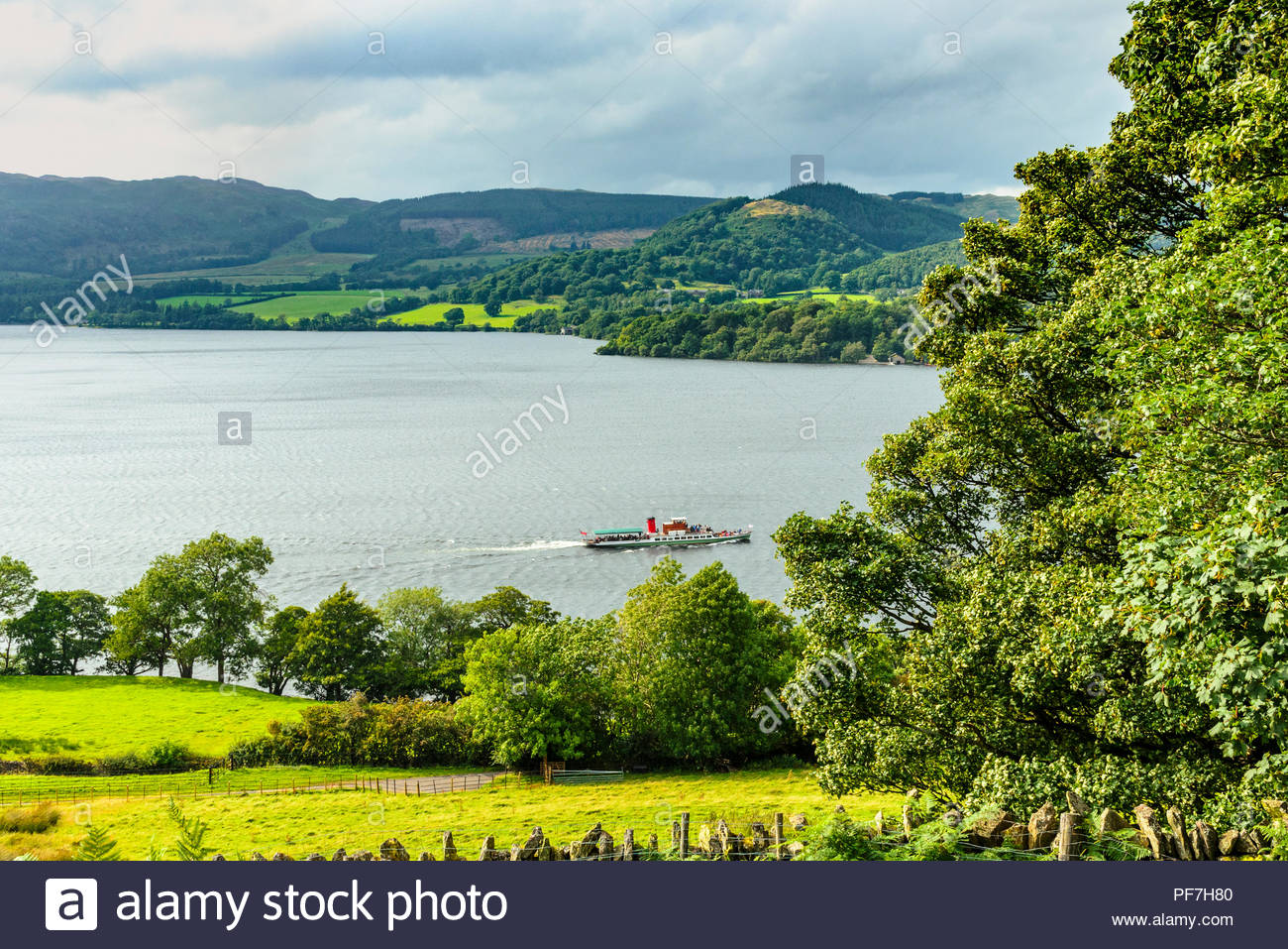 Steamer M.Y Lady of the Lake, believed to be the oldest working passenger vessel in the world, on Ullswater in the Lake District - Stock Image