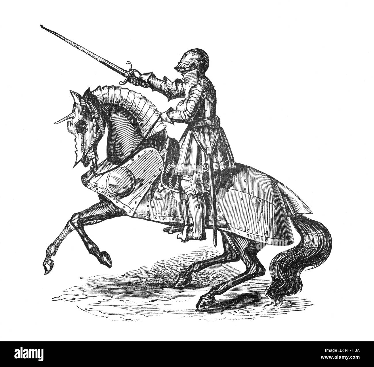 Armour during the reign of Henry VIII continued to be notable for its increasing decoration and armourers offered a large assortment of styles for a knight to choose from. The illustration shows a mounted knight with lamboys, plates of steel that imitated folds of drapery were used and cut to fit into the saddle and offer lower body protection. - Stock Image