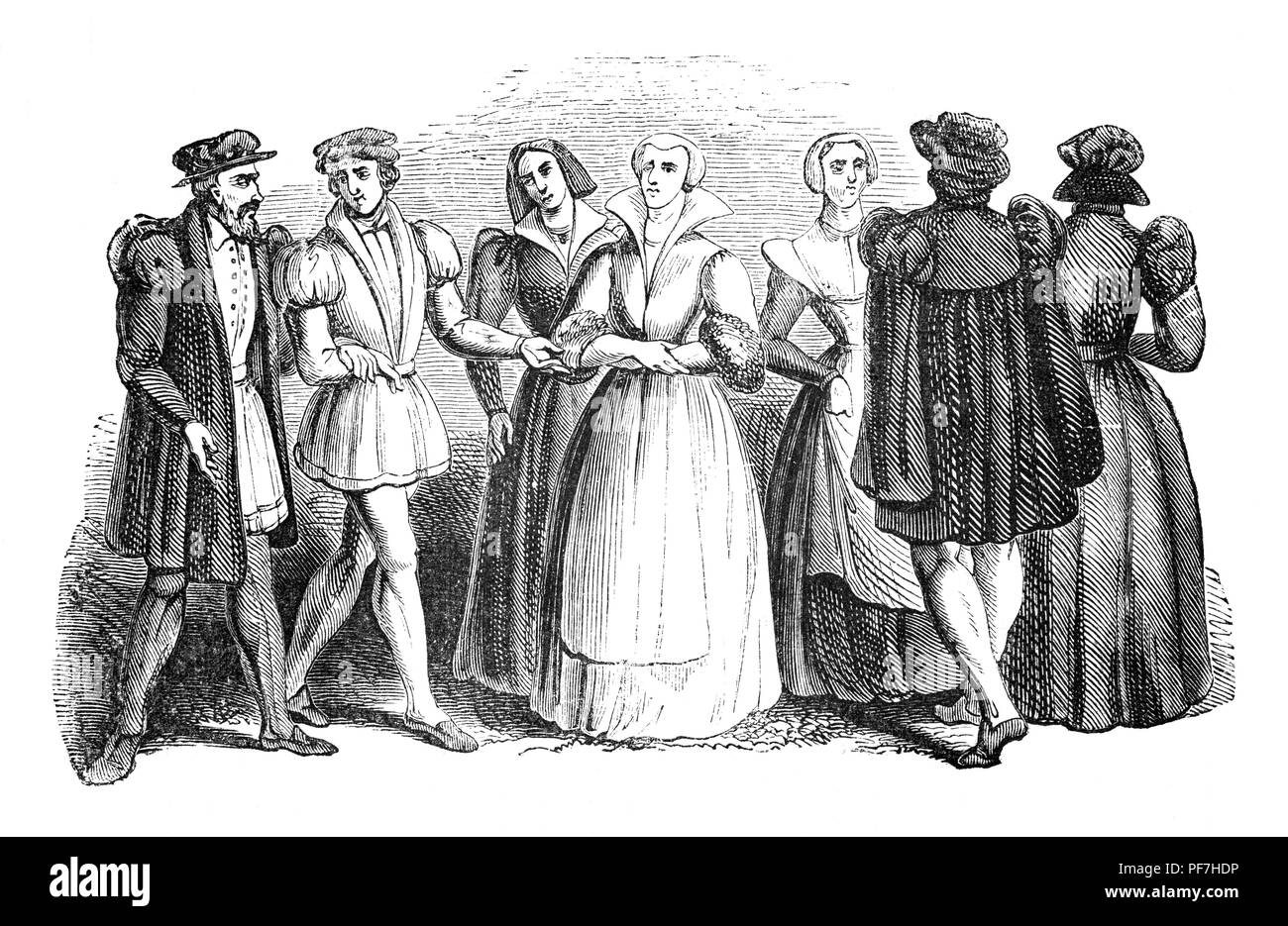 Fashion: The reign of King Edward VI was short. During his reign, the men's tunic became the doublet, initially a loose body garment with skirts;  skirts become arranged in precise folds, the folds on the skirt are shortened, the shorter they become the tighter becomes the coat; the flat cap became common and the first silk stockings arrive in England - Stock Image