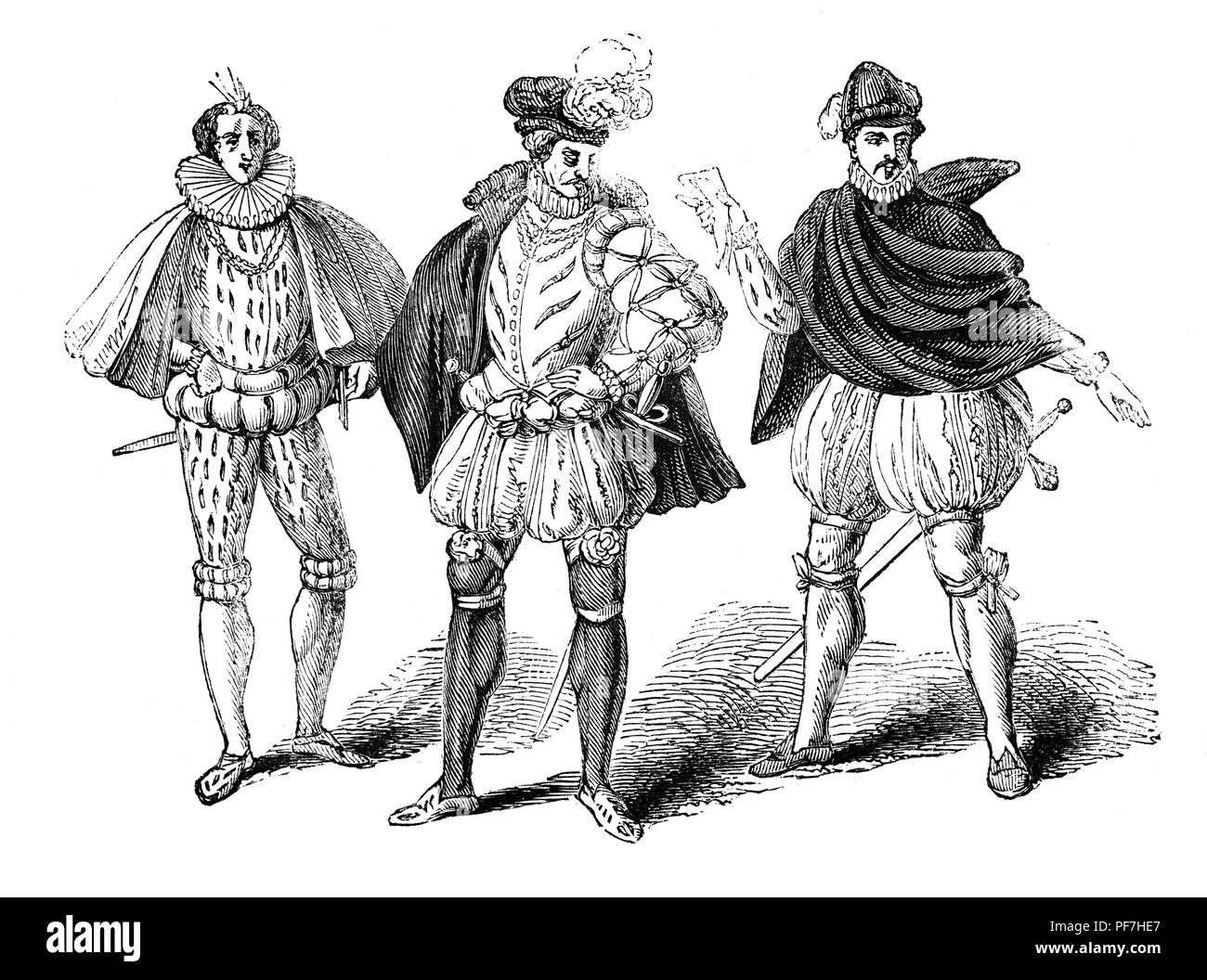 Fashion: For overseas men during the reign of Queen Elizabeth I. From left - French, German and Burgundian. - Stock Image