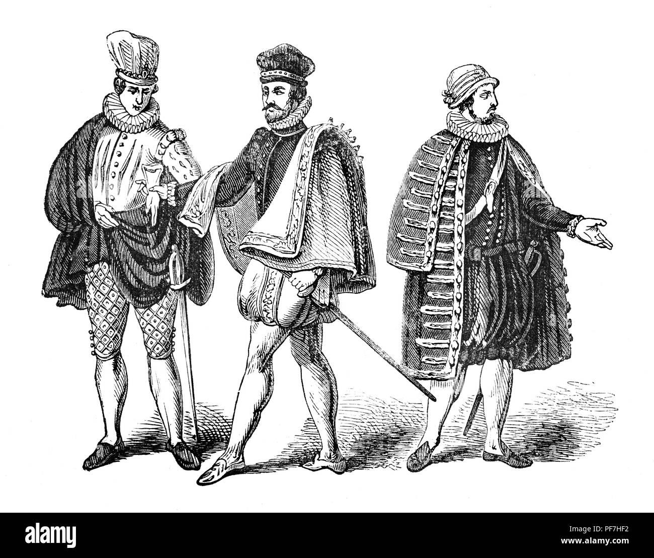 Fashion: For overseas men during the reign of Queen Elizabeth I. From left - Venetian, Spanish and French. - Stock Image