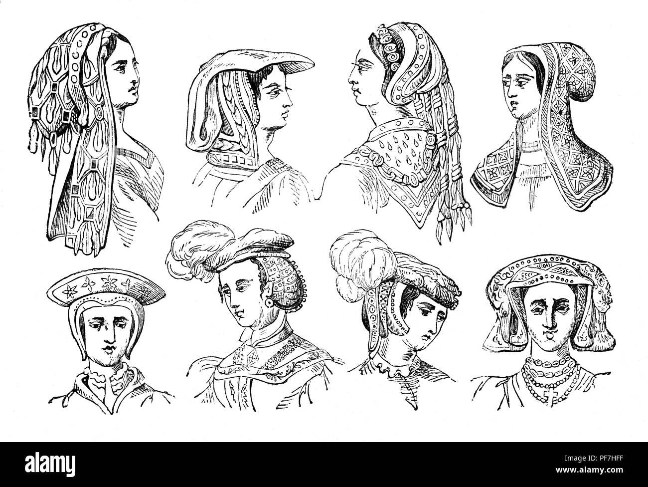 Fashion: 16th Century Women's head dresses. - Stock Image