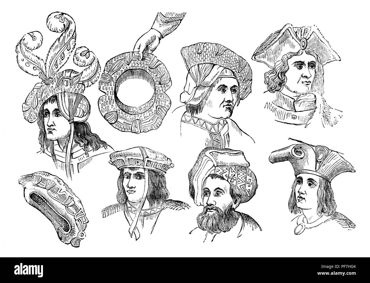 Fashion: 16th Century Men's head dresses. - Stock Image