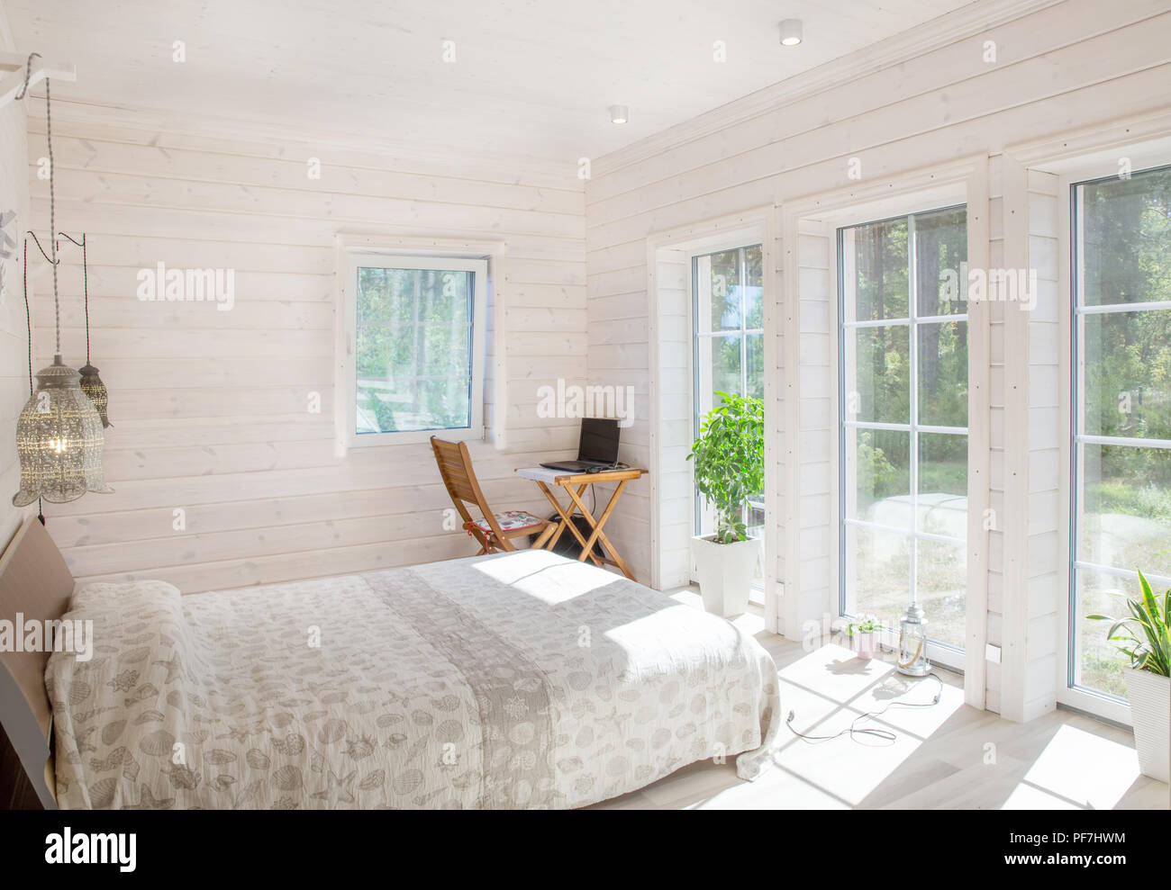 Home And Garden Concept Bright And Comfortable Bedroom