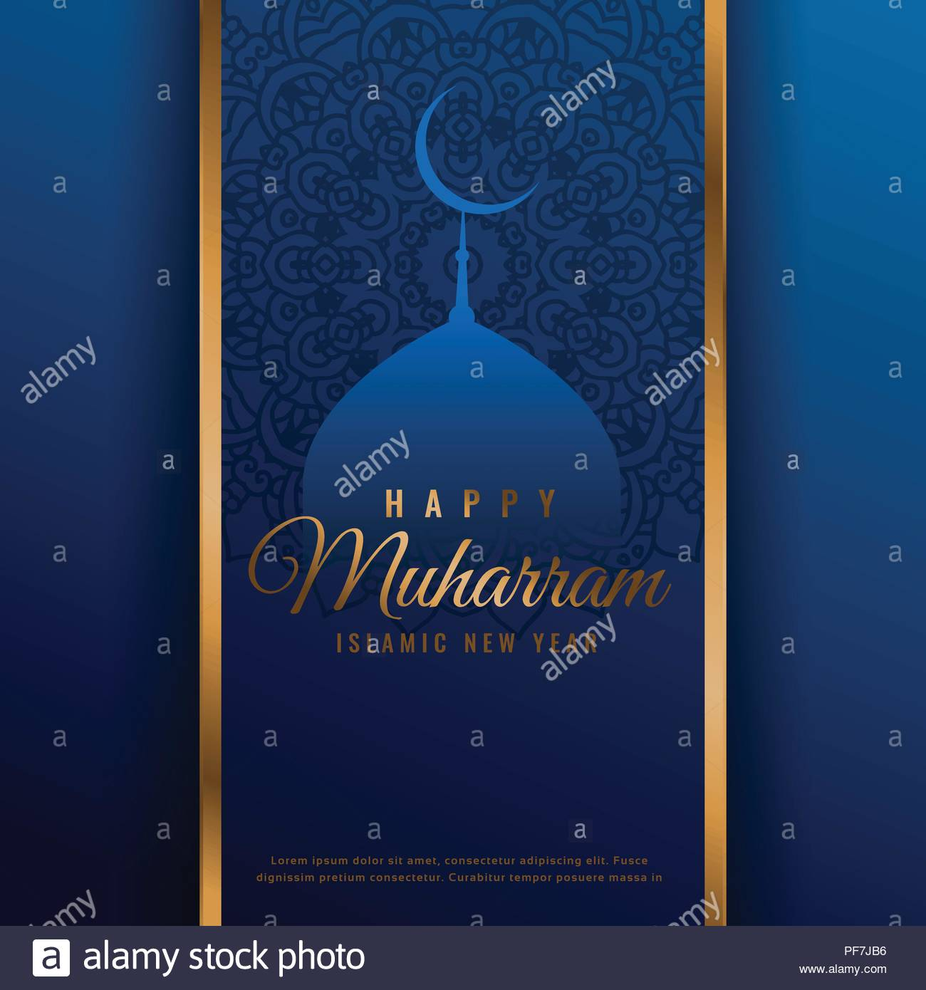 Happy Muharram Beautiful Background With Mosque Shape Stock Vector
