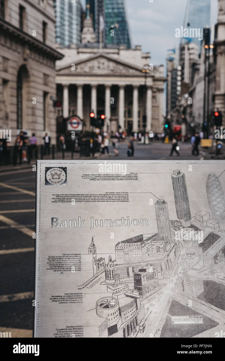 London, UK - July 24, 2018: Close up of a metal map of Bank Junction on Jubilee Walkway, Bank of England on the background. Jubilee Walkway was open t - Stock Image